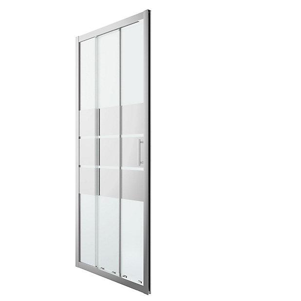 Goodhome Beloya Mirror 3 Panel Sliding Shower Door W 900mm Diy At B Q