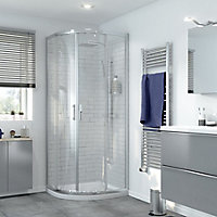 GoodHome Beloya Quadrant Clear Shower Enclosure with Corner entry double sliding door (W)800mm (D)800mm