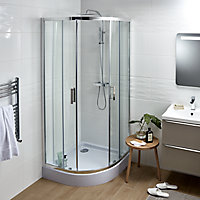 GoodHome Beloya Quadrant Clear Shower Enclosure with Corner entry double sliding door (W)900mm (D)900mm