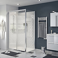 GoodHome Beloya Rectangular Clear Shower Door, panel & tray kit with Double sliding doors (W)1200mm (D)900mm