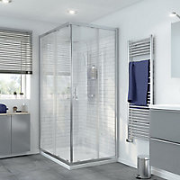 GoodHome Beloya Rectangular Clear Shower Enclosure with Corner entry double sliding door (W)1200mm (D)800mm