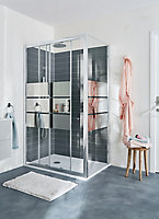 GoodHome Beloya Rectangular Mirror Shower Door, panel & tray kit with Double sliding doors (W)1200mm (D)900mm