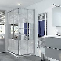 GoodHome Beloya Rectangular Mirror Shower Enclosure with Corner entry double sliding door (W)1200mm (D)800mm