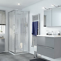 GoodHome Beloya Square Clear Shower Shower enclosure with Corner entry double sliding door (W)800mm (D)800mm