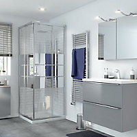 GoodHome Beloya Square Mirror Shower Enclosure with Corner entry double sliding door (W)760mm (D)760mm