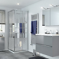 GoodHome Beloya Square Mirror Shower Shower enclosure with Corner entry double sliding door (W)800mm (D)800mm