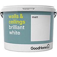 GoodHome Brilliant white Vinyl matt Emulsion paint, 10L