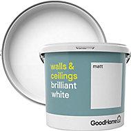 GoodHome Brilliant white Vinyl matt Emulsion paint, 5L