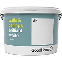 GoodHome Brilliant white Vinyl silk Emulsion paint 2.5L