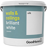 GoodHome Brilliant white Vinyl silk Emulsion paint, 5L
