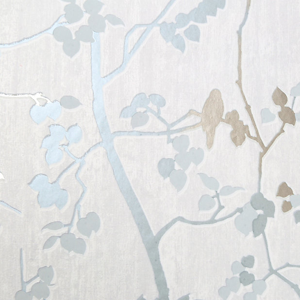 Goodhome Bromus Blue Floral Metallic Effect Textured Wallpaper Diy At B Q