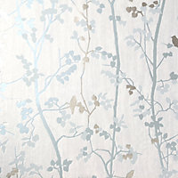 goodhome bromus blue floral metallic effect textured
