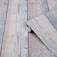 GoodHome Bucy Brown & light blue Wood effect Smooth Wallpaper