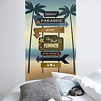 GoodHome Butome Multicolour Printed wooden sign Matt Mural