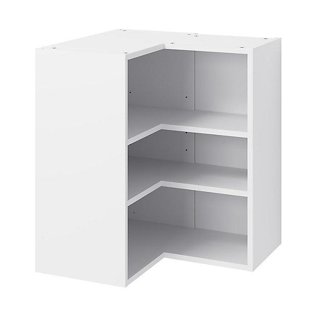 Goodhome Caraway Matt White Corner Wall Cabinet W 630mm Diy At B Q