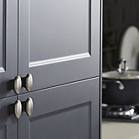 GoodHome Chervil Brushed Nickel effect Steel Round Cabinet Handle (L)32mm, Pack of 2