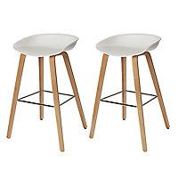 GoodHome Chimayo Black Bar stool, Pack of 2