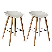 GoodHome Chimayo White & natural Bar stool, Pack of 2