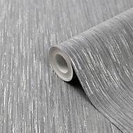 GoodHome Ciral Dark grey Striped Metallic effect Textured Wallpaper
