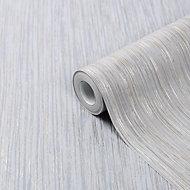 GoodHome Ciral Light grey Striped Metallic effect Textured Wallpaper