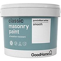 GoodHome Classic Pure brilliant white Smooth Matt Masonry paint, 10L