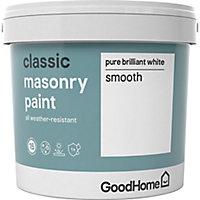 GoodHome Classic Pure brilliant white Smooth Matt Masonry paint, 5L