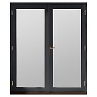 GoodHome Clear Double glazed Grey Hardwood Reversible Patio door & frame, (H)2094mm (W)1194mm