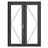 GoodHome Clear Double glazed Grey uPVC External Patio door & frame, (H)2090mm (W)1490mm