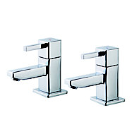 GoodHome Cooleen Chrome-plated Bath Pillar Tap, Pack of 2