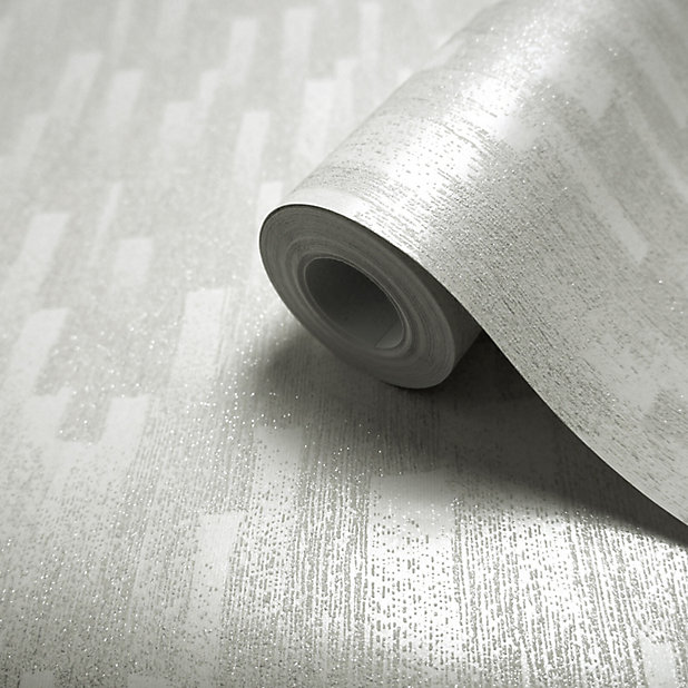 GoodHome Dalea Grey Striped Glitter &