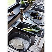 GoodHome Datil Chrome effect X shape Dish drainer rack, (W)460mm