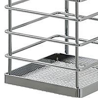 GoodHome Datil Chrome-plated Silver effect Wall organiser utensil holder, (H)225mm (W)115mm
