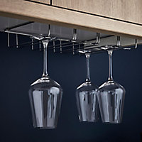 GoodHome Datil Silver effect Wine glass holder