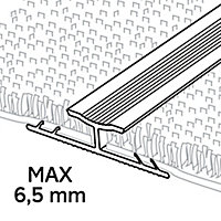 GoodHome DECOR 10 Gloss Silver effect Carpet to carpet trim (L)93cm