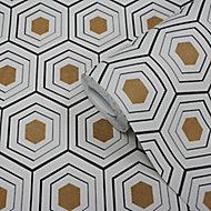 GoodHome Draba Multicolour Art deco Metallic effect Textured Wallpaper