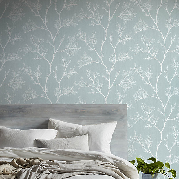 Goodhome Drave Blue White Tree Glitter Effect Textured Wallpaper Diy At B Q