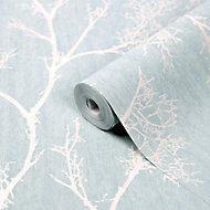 GoodHome Drave Blue & white Tree Glitter effect Textured Wallpaper