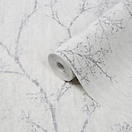 GoodHome Drave White Tree Glitter effect Textured Wallpaper