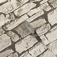 GoodHome Druye Light grey Stone Stone effect Textured Wallpaper
