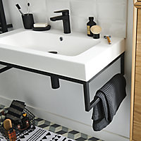 GoodHome Duala Resin Worktop with integrated basin Central (W)600mm