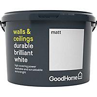 GoodHome Durable Brilliant white Matt Emulsion paint, 2.5L