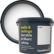 GoodHome Durable Brilliant white Matt Emulsion paint 5L
