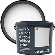 GoodHome Durable Brilliant white Silk Emulsion paint 10L