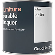 GoodHome Durable Clear Satin Furniture Lacquer, 0.5L