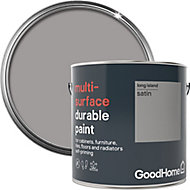 GoodHome Durable Long island Satin Multi-surface paint, 2L