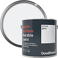 GoodHome Durable North pole (Brilliant white) Gloss Multi-surface paint, 2L
