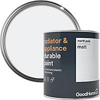 GoodHome Durable North pole (Brilliant white) Matt Radiator & appliance paint, 750ml