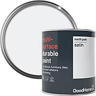 GoodHome Durable North pole (Brilliant white) Satin Multi-surface paint, 750ml