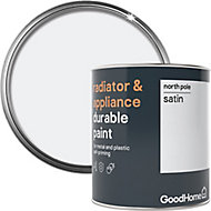 GoodHome Durable North pole (Brilliant white) Satin Radiator & appliance paint, 750ml