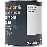 GoodHome Durable North pole (Brilliant white) Satin Radiator & appliance paint, 750ml